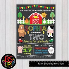 Farm Birthday Invitation Digital file ♥♥♥This is printable file in digital, NO PHYSICAL ITEM WILL BE SHIPPED♥♥♥ ★★★HOW TO ORDER★★★ ♥ Add the item into your cart and check out. ♥ Upon check-out, please leave the following information in NOTE TO SELLER: 1. Name & Age 2. Party Date 3.