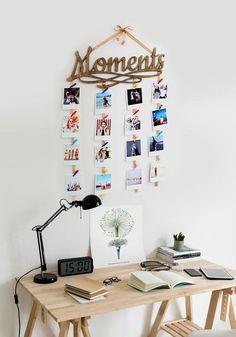 Wall Photos Collage Desks Ideas For 2019 Photo Wall Hanging, Hanging Photos, Wall Photos, Multiple Photo Frames, Ceiling Decor, Wall Decor, Photowall Ideas, Memory Wall, Photo Boards