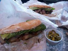 Best sandwitch ever Caribbean Restaurant, Caribbean Food, Caribbean Recipes, Fresh Rolls, Seattle, Sandwiches, Pork, Tasty, Drink