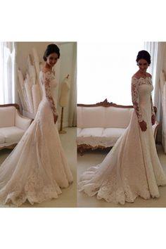 Scoop Mermaid/Trumpet Ivory Wedding Dress