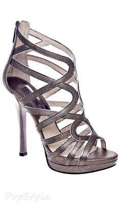 Michael Kors Tatianna Lizzard Embossed Leather High Heel Sandal