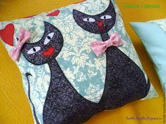 "Купить Декоративные подушки ""Cats in love"" - голубой, подушка ..."