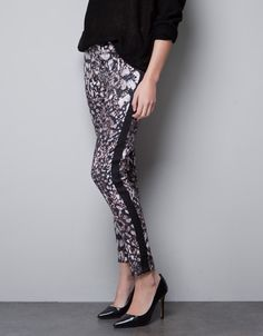 PRINTED TROUSERS WITH SIDE STRIPE - Trousers - TRF - ZARA