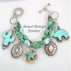 Schaef Designs Turquoise and Sterling Silver Charm Bracelet www.maverickstyle.net