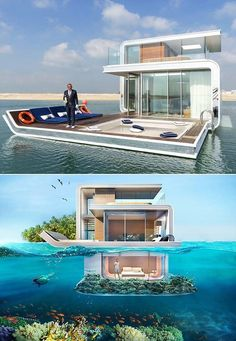 Tekne ev Floating Architecture, Architecture Design, Wood Interior Design, Exterior Design, House By The Sea, My House, Luxury Life, Luxury Homes, Underwater House