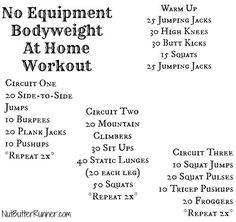 No Equipment Bodyweight At Home Workout
