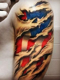 Best Flag Tattoos Design: 3d American Flag Tattoo Design For Men On Sleeve ~ Tattoo Design Inspiration