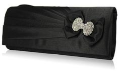 Product code Diamante bow detail to the front. Pleated satin to the front, plain to the back. Lined with an internal pocket. 2 detachable chains measuring and Size (cm): 25 wide x 10 high x 6 deep Bridal Clutch, Wedding Clutch, Black Clutch Bags, Bags Uk, Wedding Styles, Wedding Ideas, Black Satin, Evening Bags, Jewelry Stores