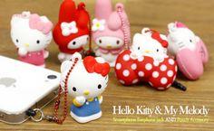 Sanrio Hello Kitty Squishy Ball Chain and Earphone Jack Accessory