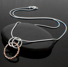 Twisted Elegance Sterling Silver and Copper Necklace