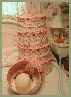 i <3 my hat boxes.. reminds me of vintage rose ticking fabric! ~Mary~