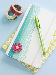 not these, but use Washi tape to decorate a plain notebook, or to secure glued-on scrapbook paper to a composition book?