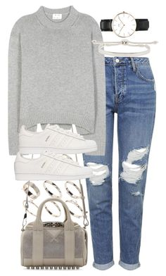 """""""distressed jeans"""" by sophiasstyle ❤ liked on Polyvore featuring Topshop, Lipsy, Alexander Wang, Acne Studios, adidas Originals, Monica Vinader, Daniel Wellington, women's clothing, women and female"""