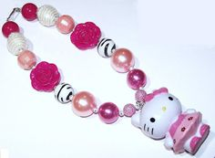 Hello Kitty Hot Pink Zebra Pink Sequin Pearl Faceted Girls Chunky Necklace, Girls Big Bead Necklace,  Girls Necklace