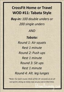 Tabata Tuesday: CrossFit Home or Travel WOD #11 - Fit N Well Mommy