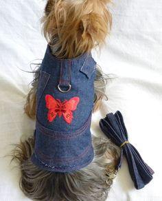New Dog Cat Apparel Harness Vest Leash Denim Red Butterfly Velcro XS S M