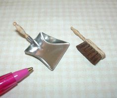 Miniature German SILVER Dust Pan/Hand Brush Set w/Real Bristles! DOLLHOUSE 1/12 | eBay