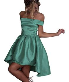 b3a558088ed Dressylady Champagne Off-Shoulder High Low Prom Party Homecoming Dress at Amazon  Women s Clothing store