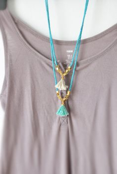 Turquoise Necklace  Boho Necklace  Tassel by stellacreations