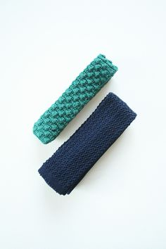 Set of 2 knitted and crocheted ties in jade green and navy by TurquoiseFlamingo on Etsy