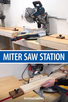Miter Saw Station (plans Available) Set up a miter saw station in your workshop with extension wing, integrated drill press, T-track integrated stop blocks, and leveling feet. It will make using your miter saw more functional, safer and more convenient. Woodworking Patterns, Woodworking Furniture, Fine Woodworking, Woodworking Crafts, Wood Furniture, Woodworking Classes, Woodworking Basics, Woodworking Techniques, Woodworking Supplies