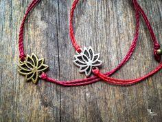 Red string bracelet Lotus - yoga meditation crimson thread symbol luck protection evil eye boho jewelry kabbalah