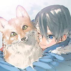 Nanase Haruka with pet fox by ハナ on pixiv Free Anime Movie, Manga Art, Anime Art, Haruka Nanase, Free Eternal Summer, Free Iwatobi Swim Club, Kaichou Wa Maid Sama, Fanart, Guy Drawing