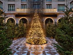 """This year Leatham included a """"tree"""" constructed of bare bulbs suspended in the hotel's courtyard."""