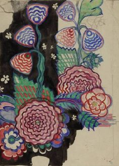GLAHA 41446: Textile design: stylised chrysanthemums - click to view larger image