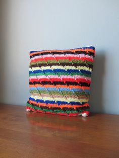 Knitted Pillow Beautiful Colors Vintage Handmade 1970s