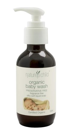 Organic Baby Wash in Glass Bottle with White Easy Pump by Nature's Child. ACO Certified Organic Liquid Soap for bubba