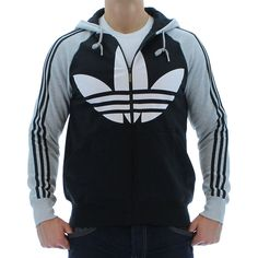Gray/Black Adidas Originals Color Block FZ Men's Hooded Sweatshirt. Click here for discounted Adidas apparel http://www.streetmoda.com/collections/adidas from Streetmoda.com