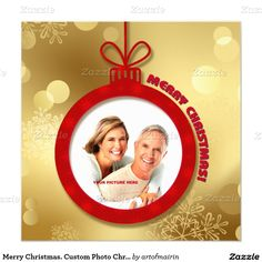 """Merry Christmas.  5.25"""" Square Flat  Customizable Christmas Photo Cards. Matching cards, postage stamps and other products available in the Christmas & New Year Category of the artofmairin store at zazzle.com"""