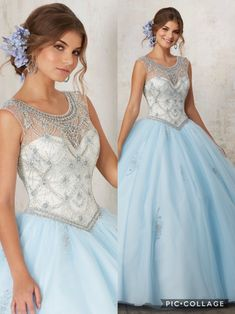 Light blue with champagne Quinceañera dress. Beautiful illusion Neckline beaded with Jewel details. Beaded Appliqués throughout the skirt.  Colors available:  1) Light blue/ Champagne  2) Light Coral/ Nude 3) White