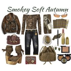 Fashion set Smokey Soft Autumn created via Capsule Outfits, Fashion Capsule, Capsule Wardrobe, Fall Outfits, Soft Autumn Makeup, Soft Autumn Color Palette, Soft Autumn Deep, Warm Autumn, Color Me Beautiful