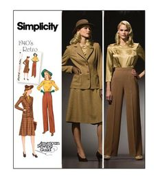 1940s WOMENS SUIT Pattern Jacket Pants Skirt Blouse Pattern Simplicity 3688 Vintage Reissue UNCuT Womens Sewing Patterns WWII Swing Era by DesignRewindFashions on Etsy