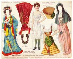 vintage paper doll. Asian and European dress. Kimono