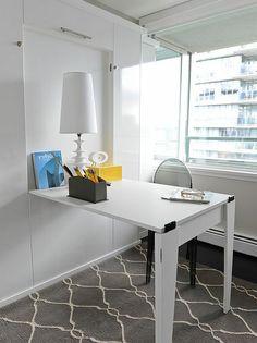 Le bureau escamotable - décisions pour les petits espaces Office Desk, Corner Desk, Small Spaces, Home Improvement, Room, Inspiration, Furniture, Aquarium, Tables