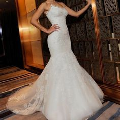 Wedding dress: lace royal embroidered tube top fish tail train wedding dress #2880
