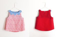 Maija Ukko red flower blouse with blue scalloped neck from Arty Baby. 100% one-off, handmade piece. www.artybaby.com.au