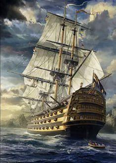 Old Sailing Ships, Ship Paintings, Wooden Ship, Ship Art, Tall Ships, Battleship, Nautical, Scenery, Ocean