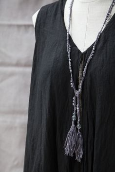 Silk Tassel Necklace - Clear Quartz Beads Designed and created by Stylist, Kelli Ronci.
