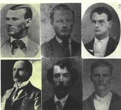 Early photographs of James - Younger Gang Outlaws. Top row: Jesse James; Cole Younger; John Younger.  Bottom row: Frank James; Clell Miller; Bob Younger.