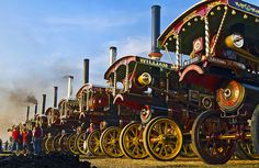 Line up of showman's engines at the Great Dorset Steam Fair by Anguskirk, via Flickr