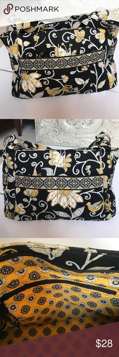 """Vera Bradley handbag in Yellow Bird pattern Vera Bradley handbag in retired yellow Bird pattern. Dimensions of the bag are 9"""" x 13"""" x 6"""". This bag is in good condition with minimal fading. Thanks for visiting my closet. Vera Bradley Bags Satchels"""