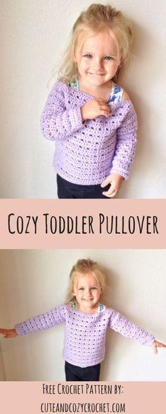 Cozy Toddler Pullover | Free Crochet Pattern | Toddler Sweater | Pullover | Crochet Pattern | Hobby Lobby | I Love This Yarn! | Orchid | Cute & Cozy Crochet | Beginner
