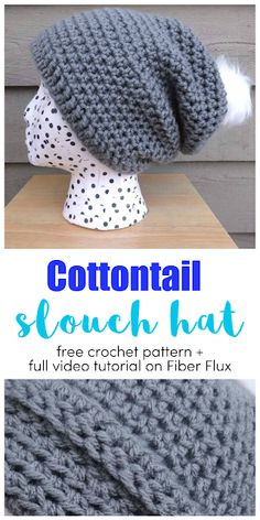 Cottontail Slouch, free crochet pattern full video tutorial on Fiber Flux Crochet Baby, Free Crochet, Knit Crochet, Easy Crochet Hat, Crochet Crafts, Crochet Projects, Crochet Slouchy Hat, Slouch Hats, Slouchy Beanie