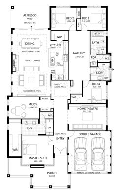 The new hampton four bed hampton style home design plunkett homes. Modern House Floor Plans, Home Design Floor Plans, New House Plans, Dream House Plans, Modern House Design, Hamptons Style Homes, Hamptons House, House Layout Plans, House Layouts