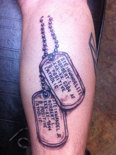 Dog Tag Tattoo. Son and Father  done by Tom Hacic  www.facebook.com/tomhacictattoos