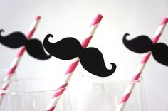 SALE - Photo Booth Props - Mustache Straw Photo Props - Set of 5 - Mustaches on PINK Striped Paper Straws on Etsy, $5.00